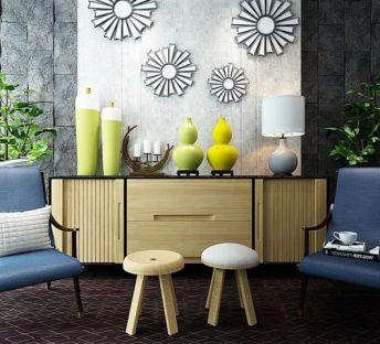 现代边柜沙发椅组合