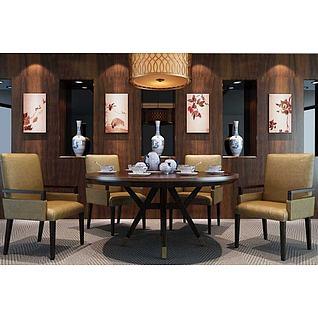 简约餐桌椅吊灯组合3d模型
