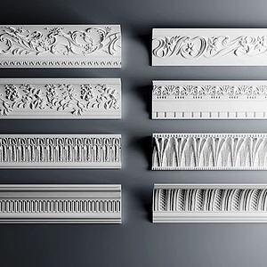 欧式角线雕花石膏构件模型