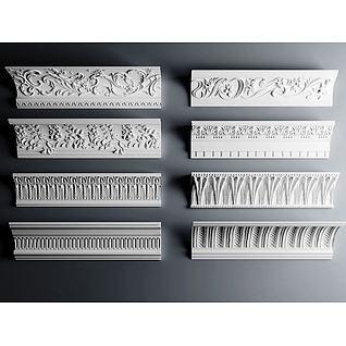 欧式角线雕花石膏构件3d模型