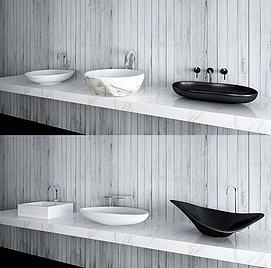 现代洗手台盆模型