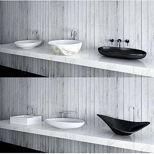 现代洗手台盆3d模型