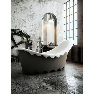 牛奶浴缸3d模型