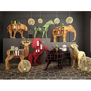 木制动物书架3d模型