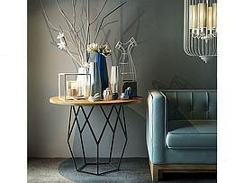 现代中式沙发陈设品组合3d模型