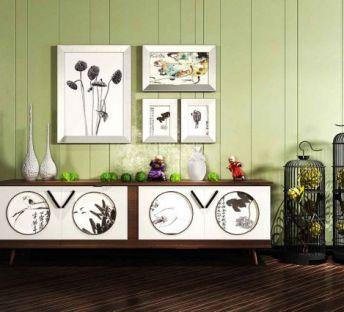 新中式电视柜装饰品组合