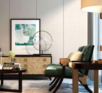 新中式电视柜休闲椅组合