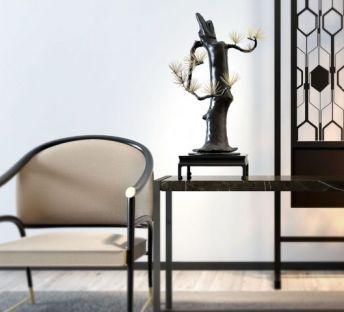 新中式单椅饰品组合