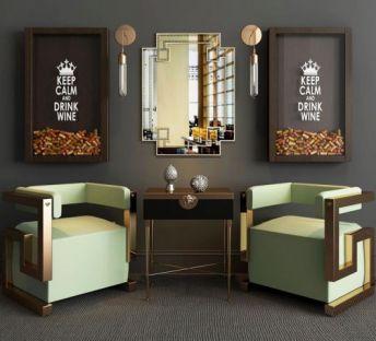 现代单椅镜子组合