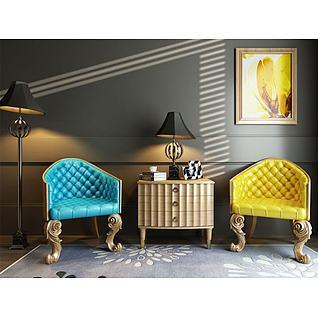 新古典椅子角几组合3d模型