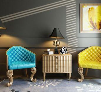 新古典椅子角几组合