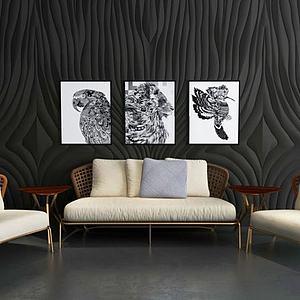 3d藤椅沙发背景墙组合模型