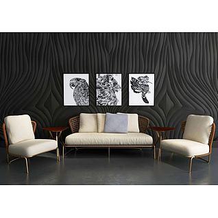 藤椅沙发背景墙组合3d模型