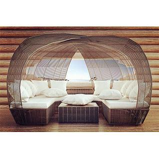 藤制U型沙发茶几3d模型3d模型