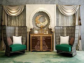 泰式藤制椅子柜子组合3d模型