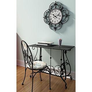 复古铁艺桌椅3d模型