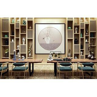 中式桌椅博古架组合3d模型