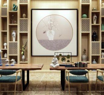 中式桌椅博古架组合