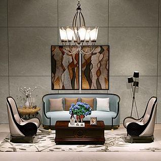 新古典沙发莲花吊灯组合3d模型3d模型