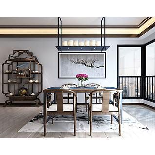 新中式博古架餐桌椅组合3d模型
