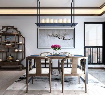 新中式博古架餐桌椅组合