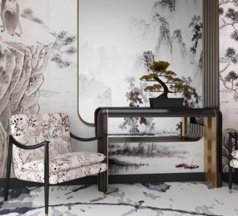 中式单人沙发松树盆栽组合