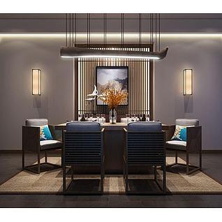 新中式餐桌椅树干吊灯3d模型