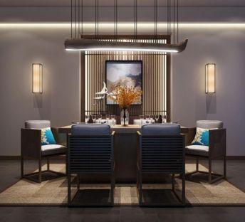 新中式餐桌椅树干吊灯