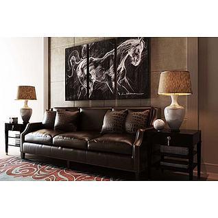 高档皮艺沙发3d模型