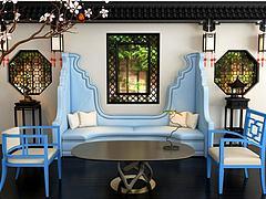 新中式蓝色沙发茶几组合模型3d模型