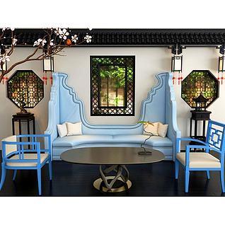 新中式蓝色沙发茶几组合3d模型
