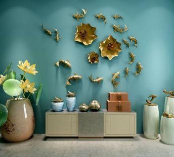 中式荷花鱼墙饰品