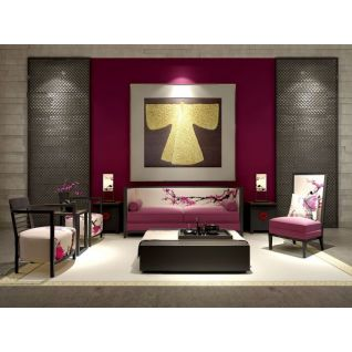 中式印花沙发茶几组合3d模型