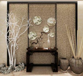 中式玄关台枯树饰品