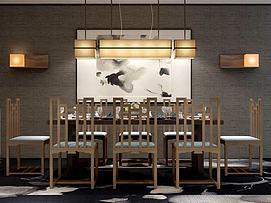 中式餐桌椅吊灯组合3d模型