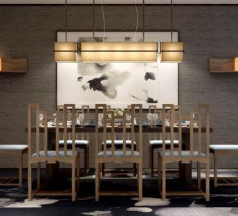 中式餐桌椅吊灯组合