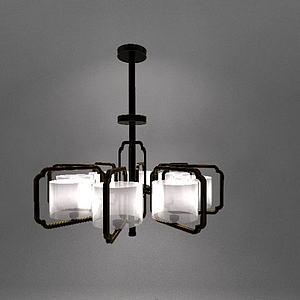 3d新中式复古吊灯模型