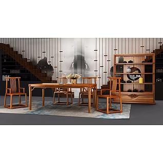 新中式桌椅茶柜3d模型