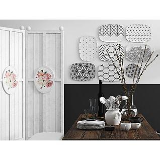 木质餐桌椅盘子墙饰组合3d模型