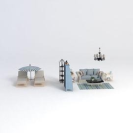 地中海风格沙发书柜组合3d模型