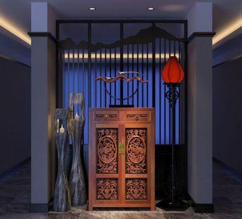 中式玄关装饰柜落地蜡烛灯组合