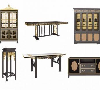 中式桌几酒柜组合