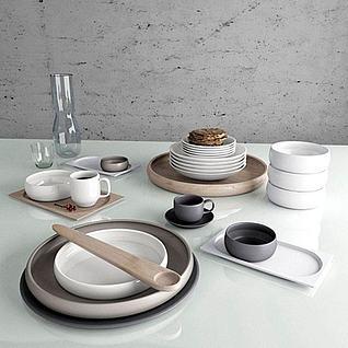 现代时尚餐具3d模型