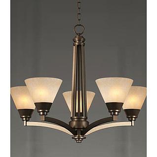 美式灯罩吊灯3d模型