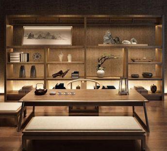 新中式茶室茶柜桌椅组合