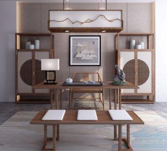 新中式书房桌椅