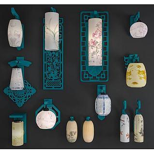 中式古典壁灯3d模型