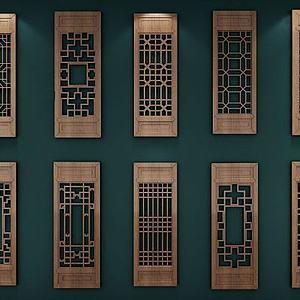中式花格窗模型