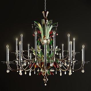 彩色艺术玻璃吊灯3d模型