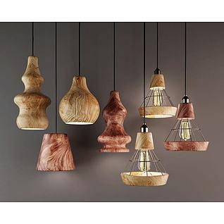 原木葫芦吊灯3d模型